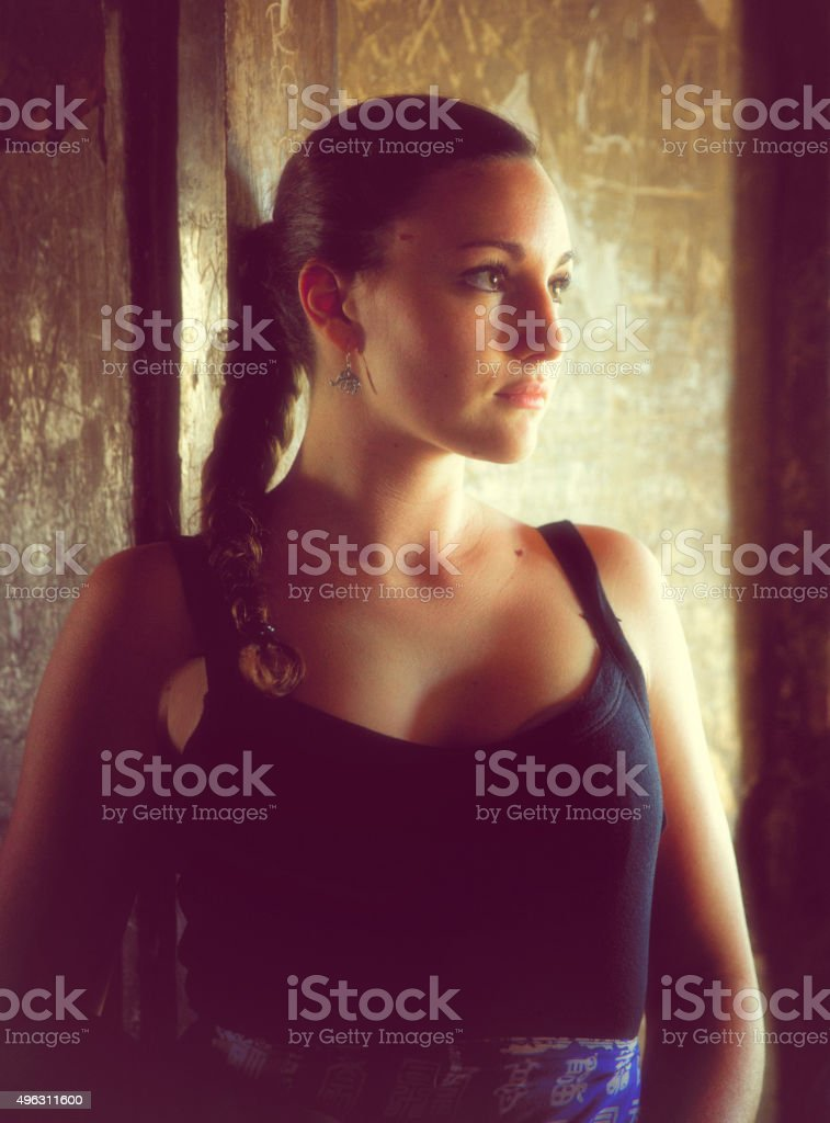 Young Woman In Agra Fort. India. stock photo