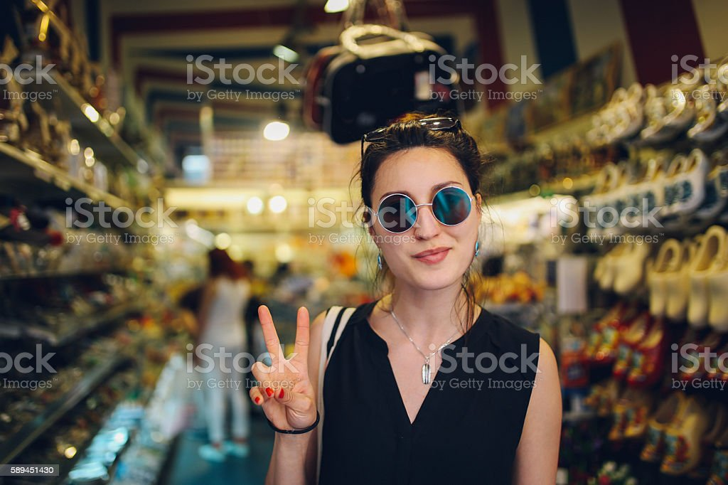Young woman in Amsterdam stock photo