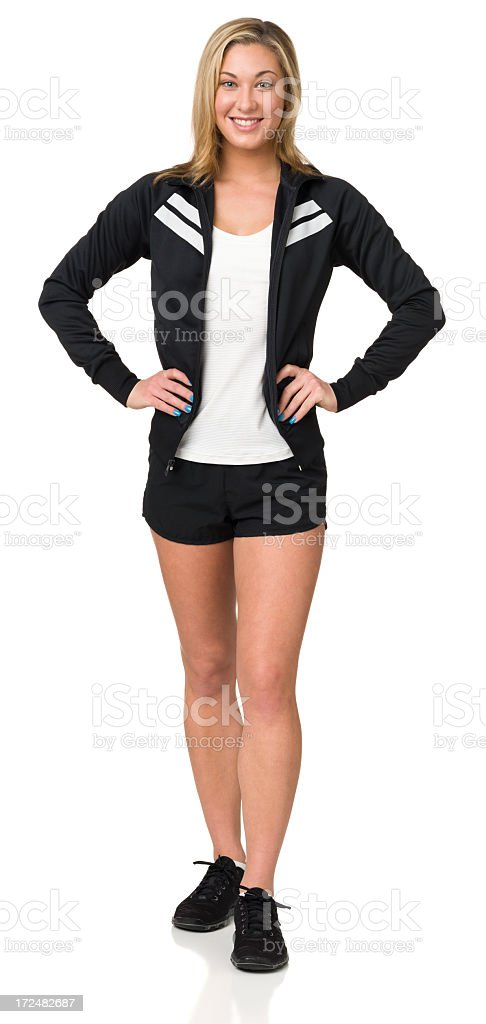 Young Woman In Athletic Clothing, Full Length Portrait royalty-free stock photo