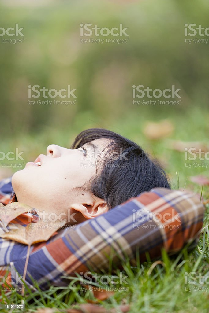 young woman in autumn day royalty-free stock photo