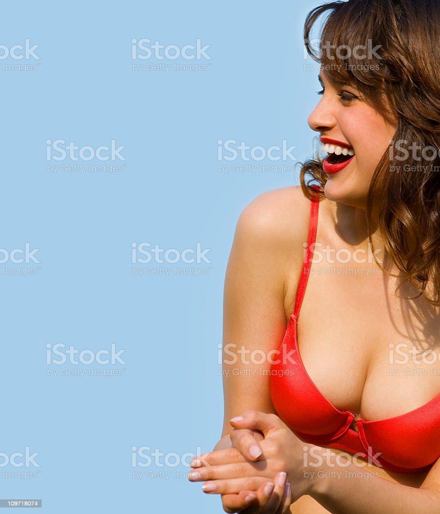 Young Woman in Bikini Laughing stock photo