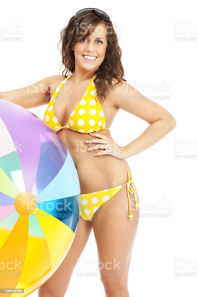 Young Woman in Bikni with Beach Ball royalty-free stock photo