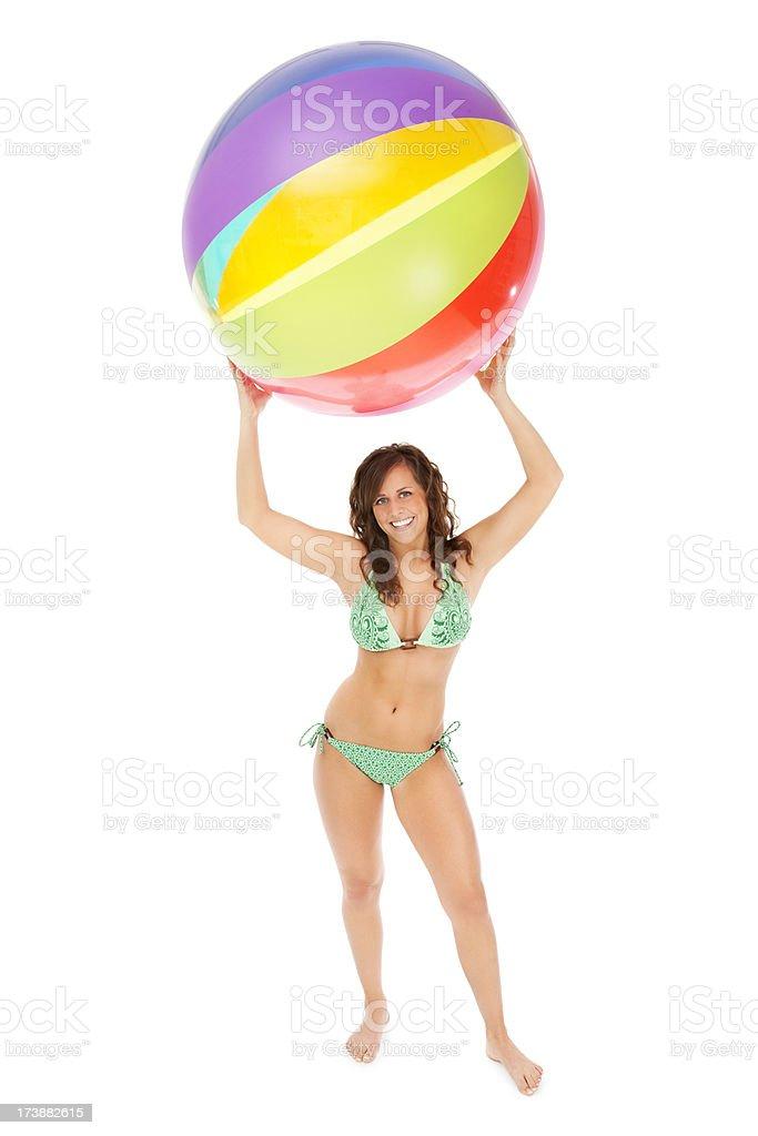 Young Woman in Bikni with Beach Ball stock photo