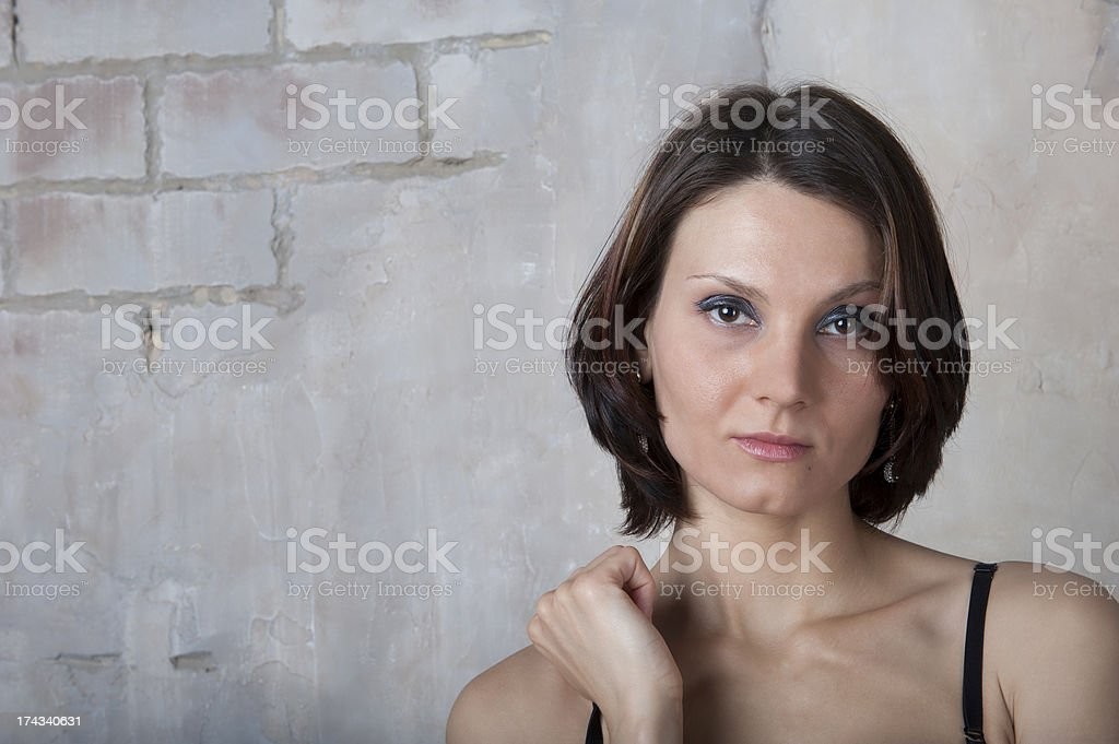 Young woman in black lingerie royalty-free stock photo