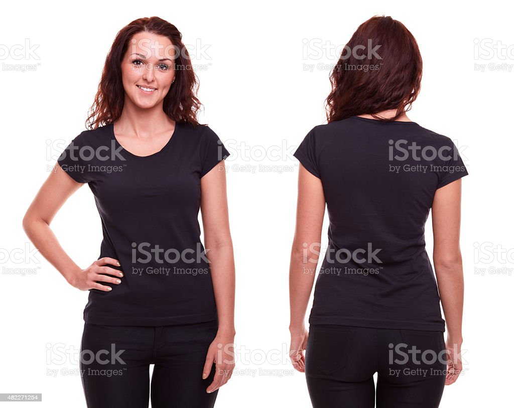 Black t shirt plain front and back - Young Woman In Black Shirt Stock Photo