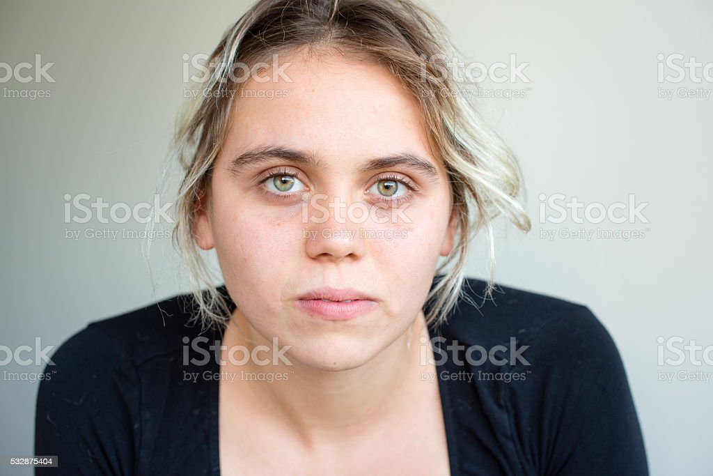 Young woman in black top stock photo
