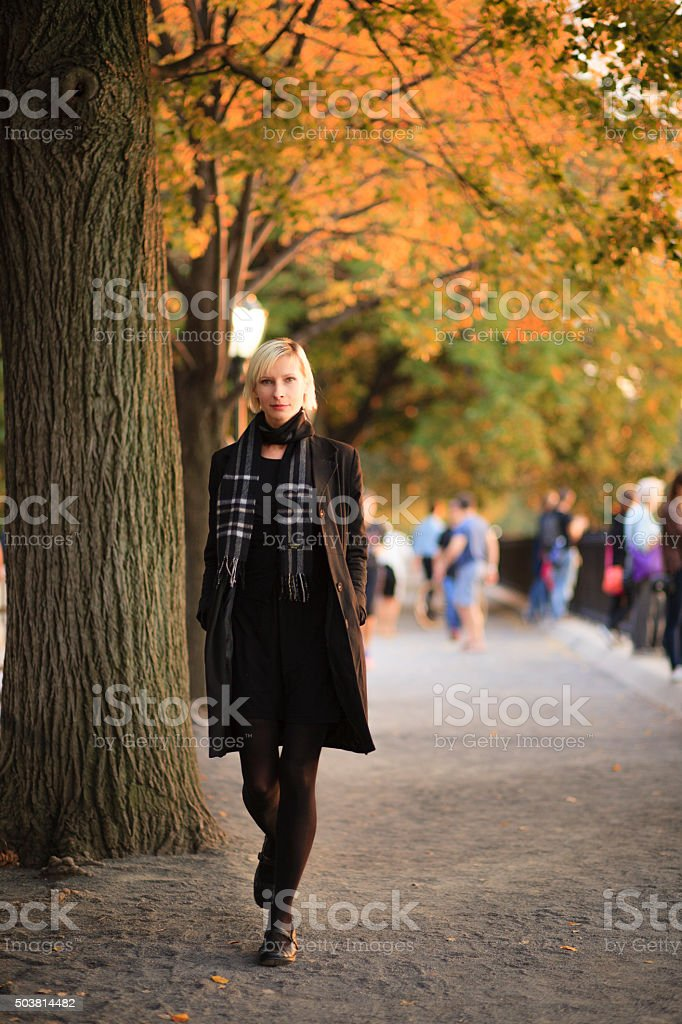 Young woman in Central Park, Manhattan, NYC stock photo