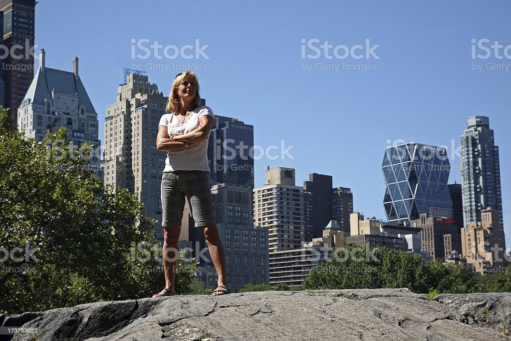 Young woman in Central Park royalty-free stock photo