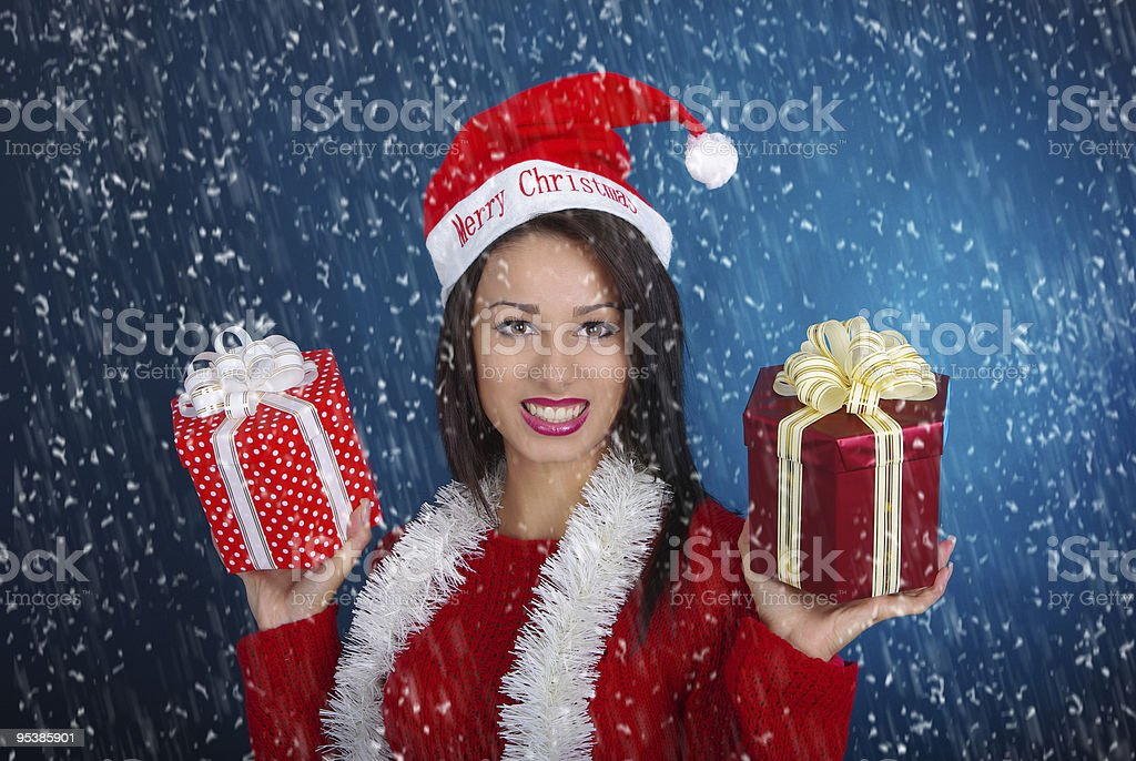 Young woman in christmas dress stock photo