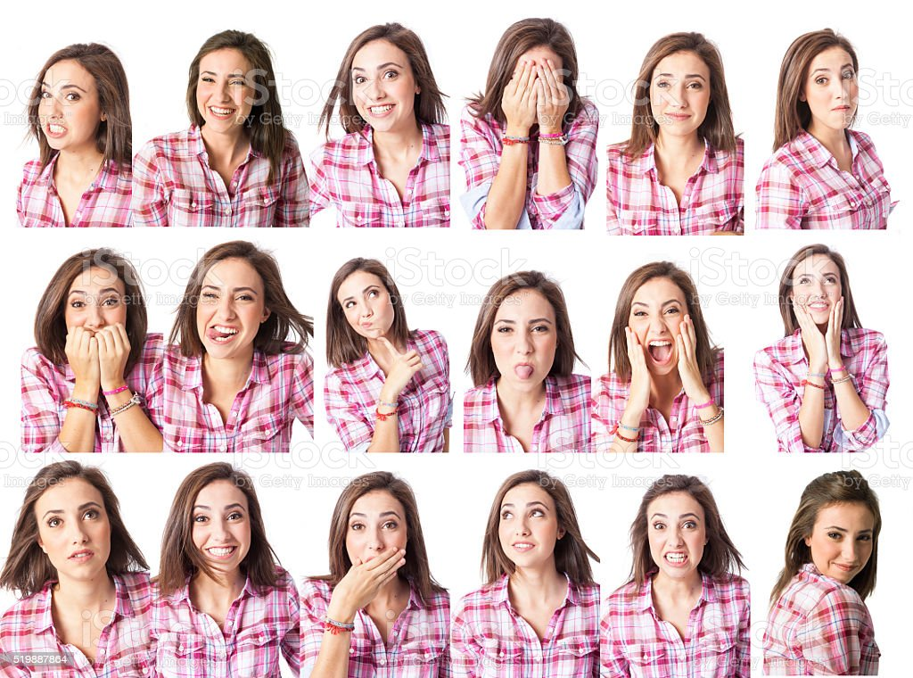 young woman in different expressions multiple options for designers stock photo
