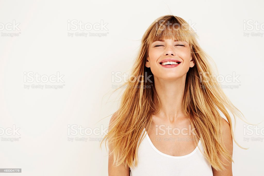 Young woman in ecstasy stock photo