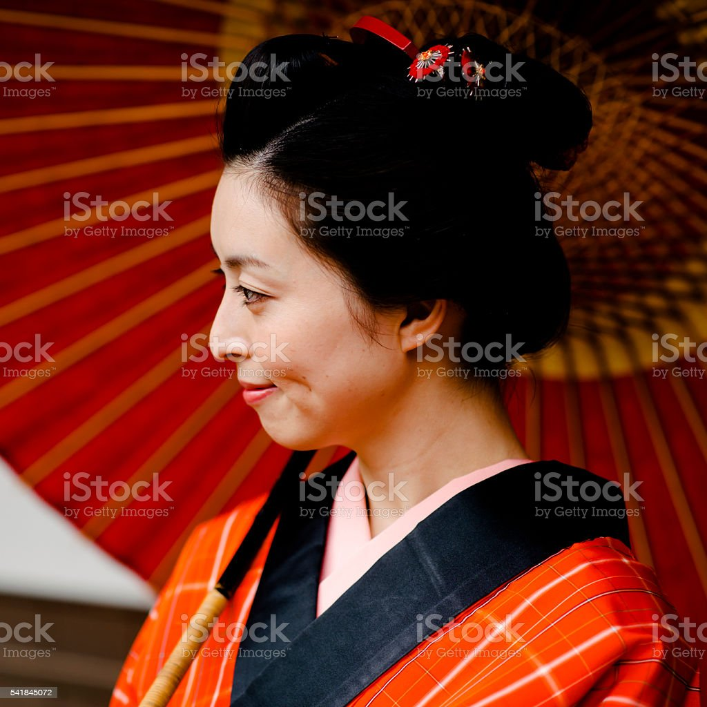Young woman in Edo period style stock photo