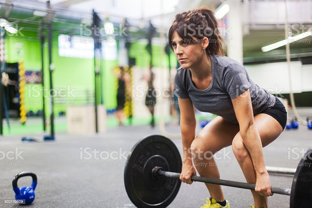 Young woman in fitness session. stock photo
