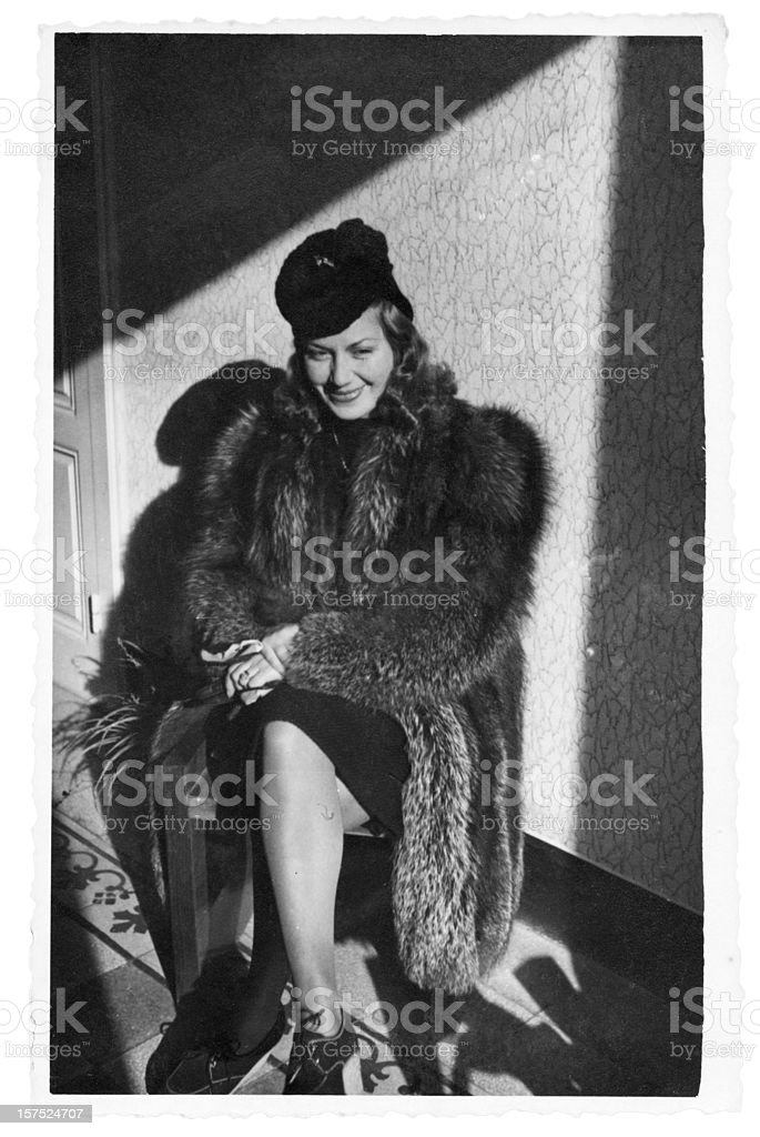 Young Woman in Fur,1940.Black And White. royalty-free stock photo