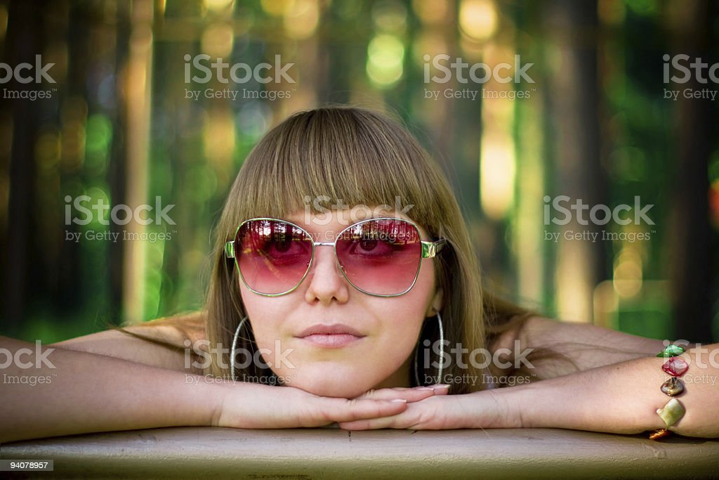 young woman in glasses royalty-free stock photo