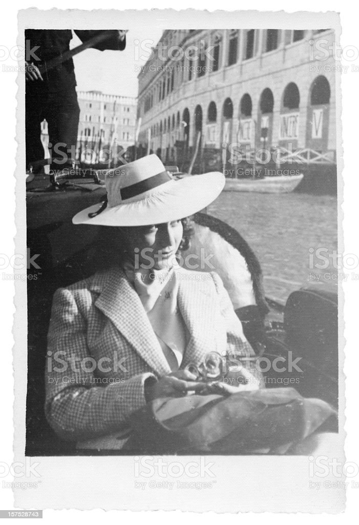 Young Woman in Gondola,Venice,1935,Black And White stock photo