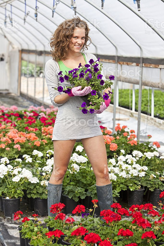 Young woman in greenhouse royalty-free stock photo