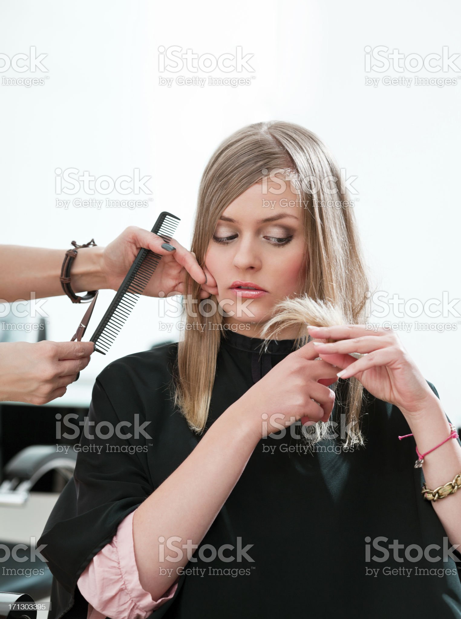 Young woman in hair salon royalty-free stock photo