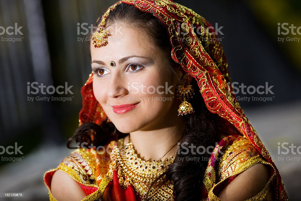 young woman in indian dress royalty-free stock photo