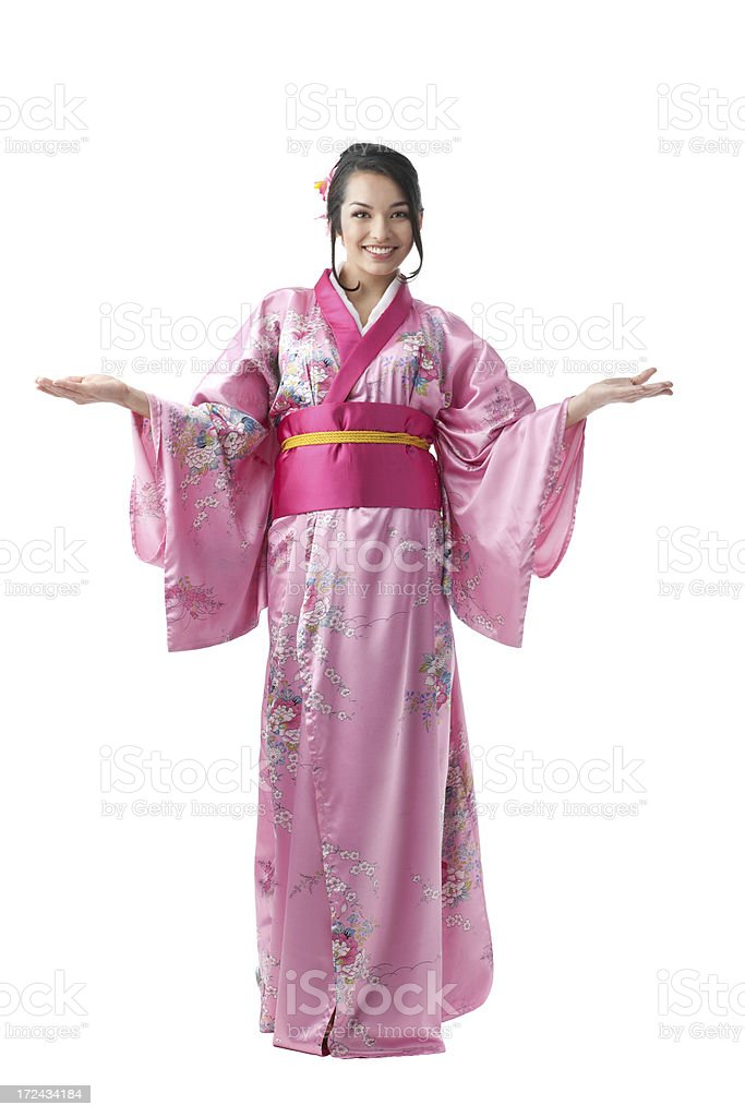 Young Woman in Kimono Dress . royalty-free stock photo
