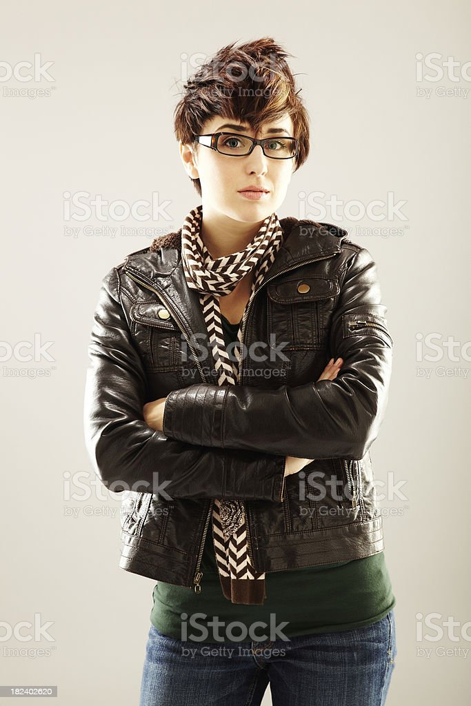 Young Woman in Leather Jacket royalty-free stock photo
