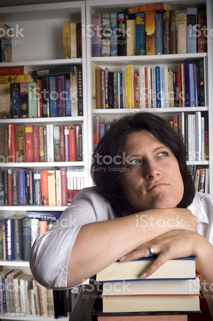 Young woman in library royalty-free stock photo