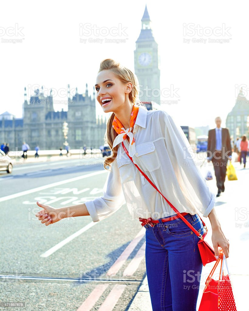 Young woman in London stock photo