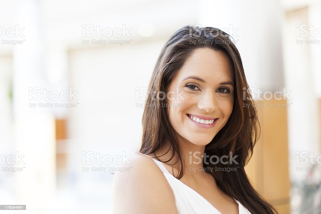 young woman in modern shopping center royalty-free stock photo