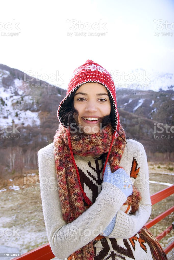 young woman in mountain royalty-free stock photo