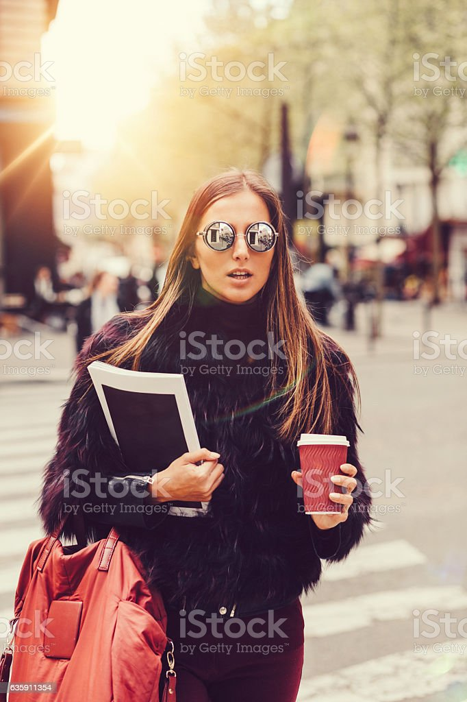 Young woman in Paris stock photo