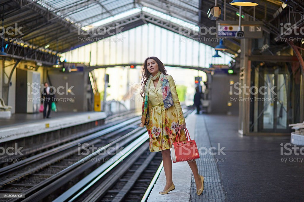 Young woman in Parisian underground stock photo