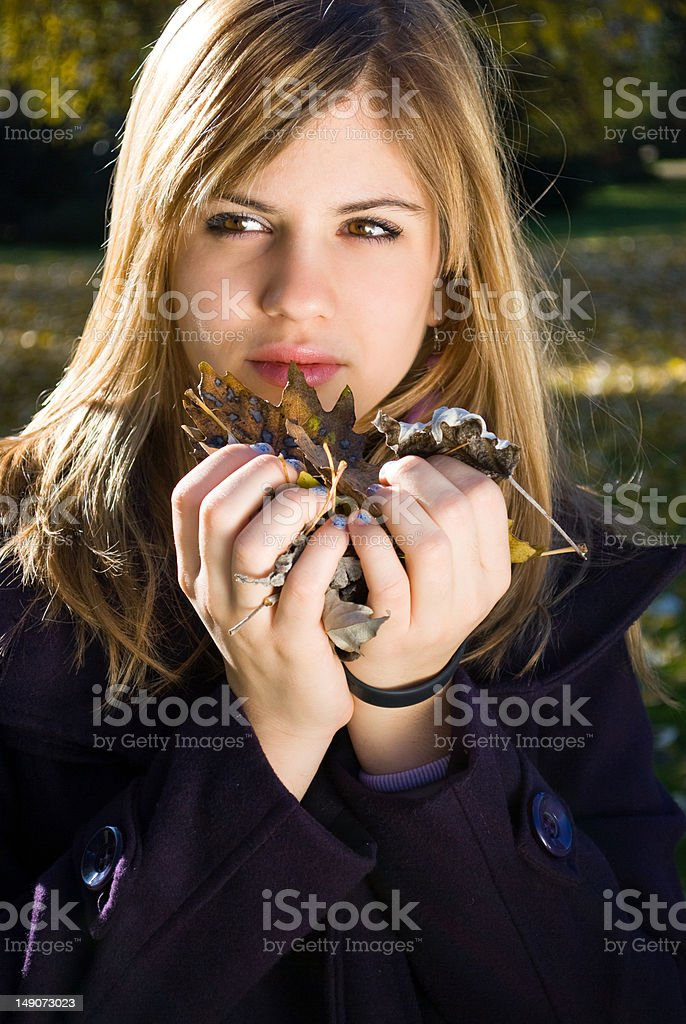 Young woman in park royalty-free stock photo