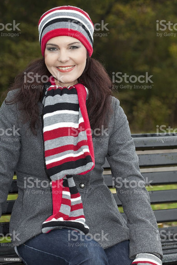 Young Woman in Park stock photo