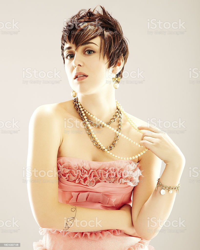 Young Woman in Pink Dress royalty-free stock photo