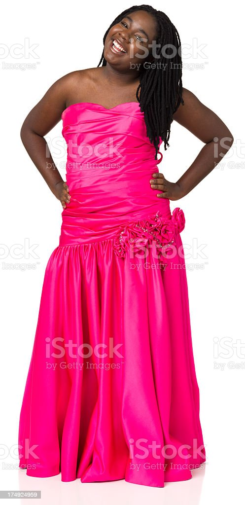 Young Woman In Pink Prom Dress stock photo