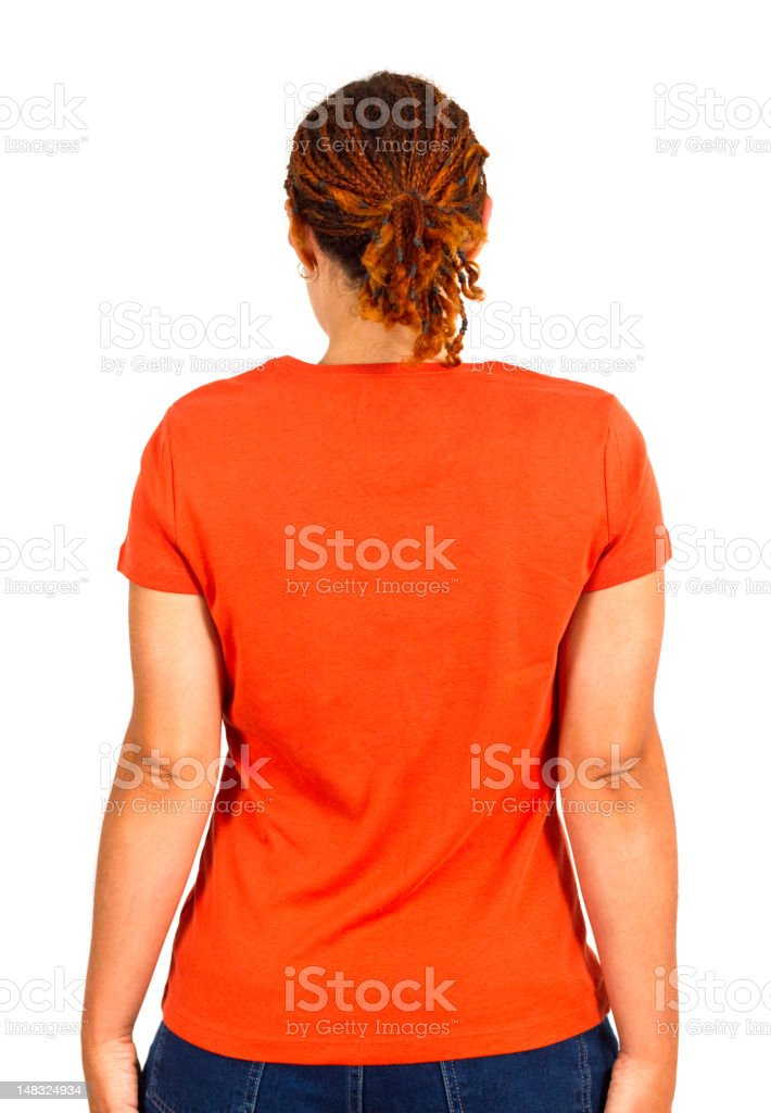 Young Woman In Plain T-shirt stock photo