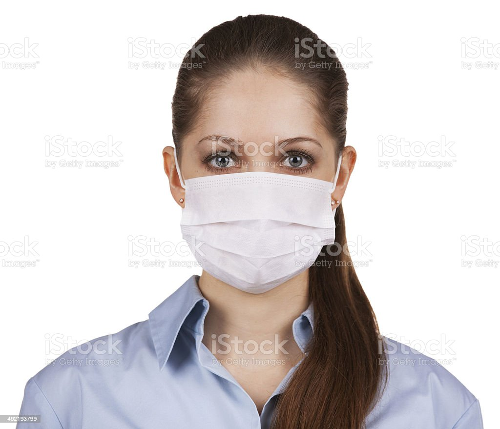 Young woman in protective medical mask stock photo
