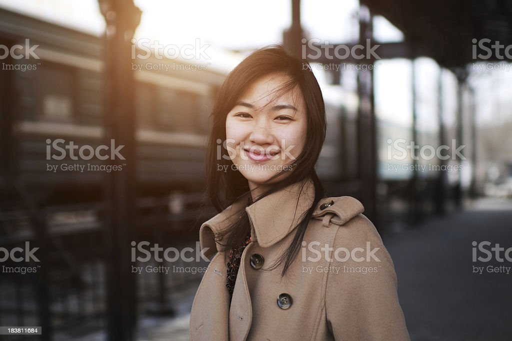 Young Woman in Railway Station - XLarge royalty-free stock photo