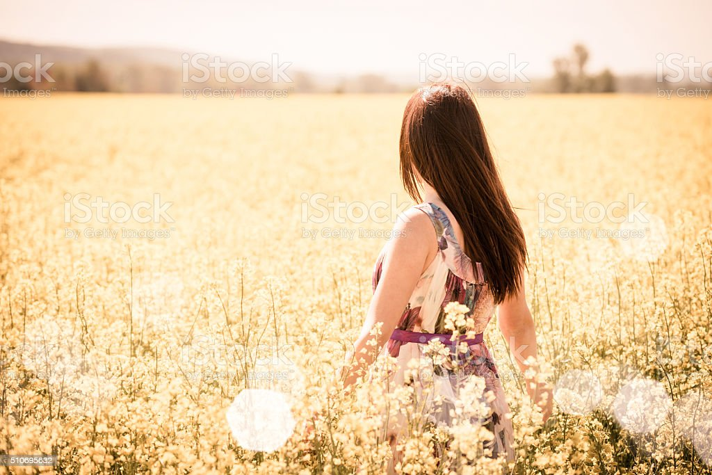Young woman in rapeseed field stock photo