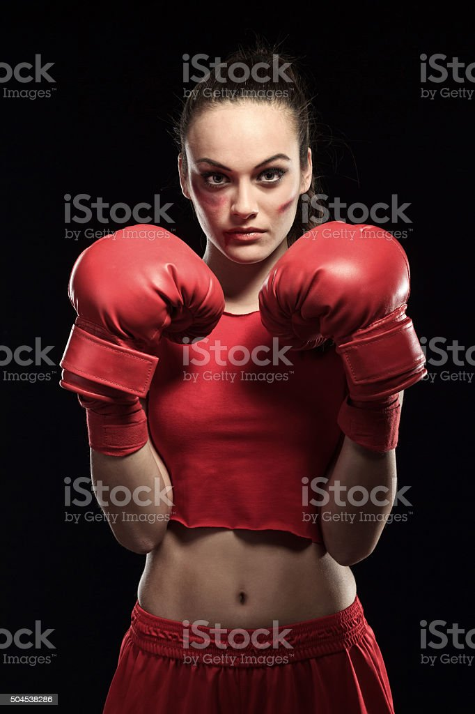 Young Woman in red - Boxing stock photo