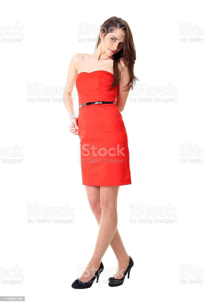 young woman in red dress, isolated stock photo