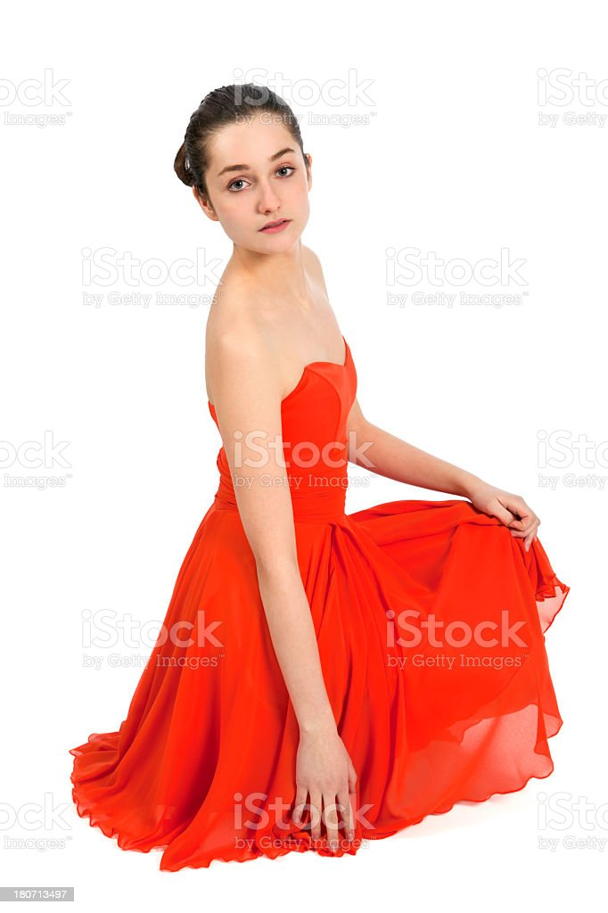 Young woman in red dress royalty-free stock photo