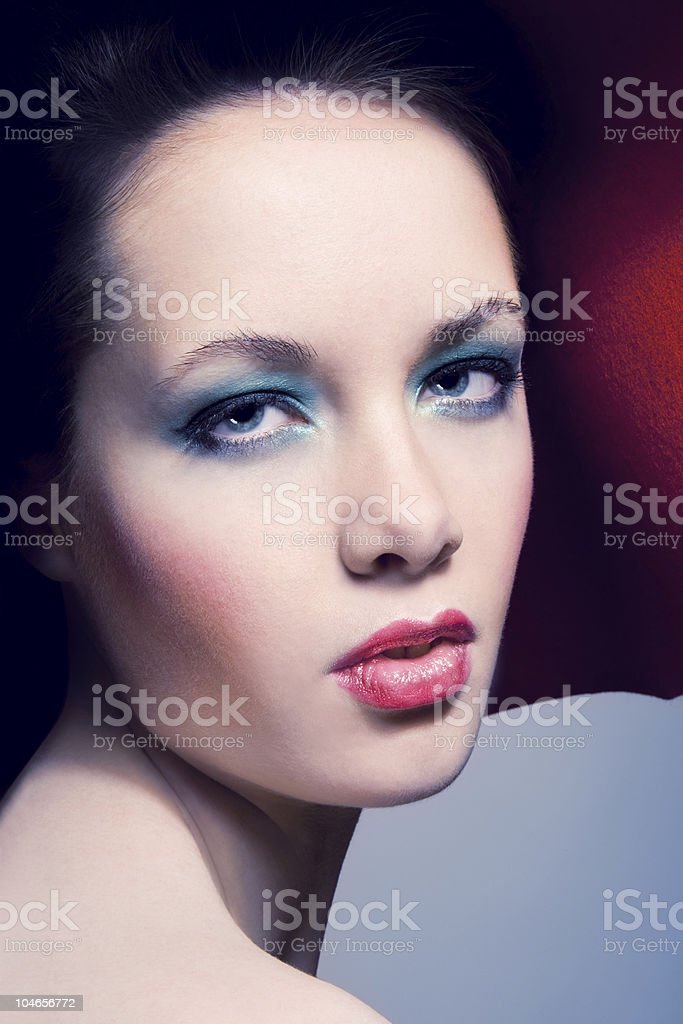 Young woman in red hat with make-up stock photo