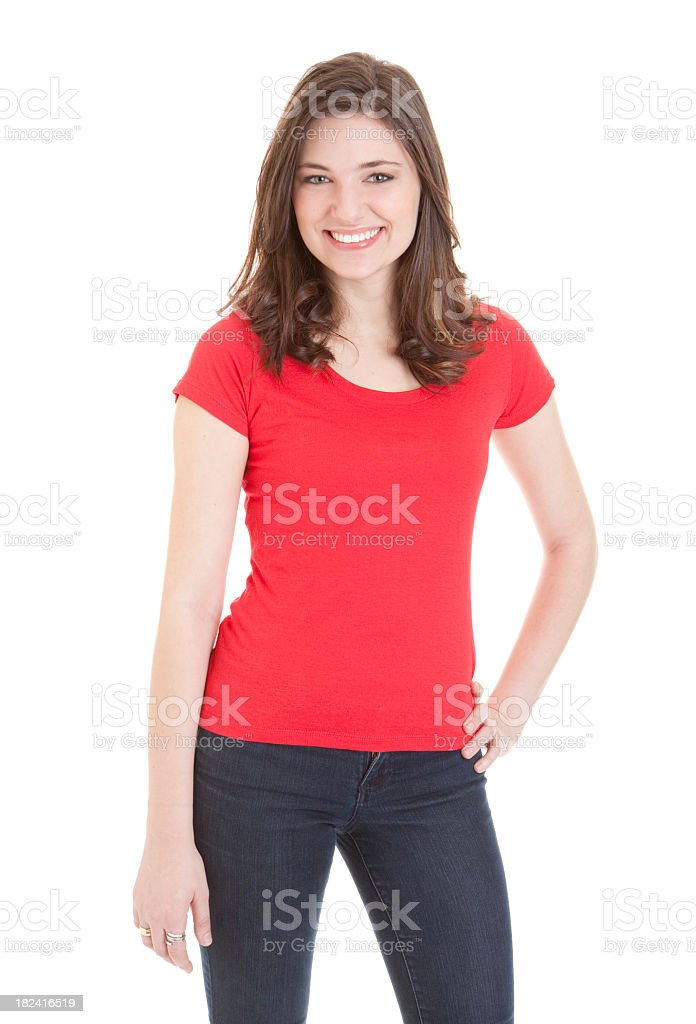 Young woman in red top smiling against a white background stock photo