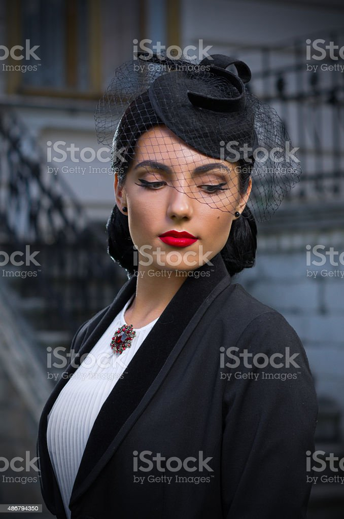Young woman in retro styled costume (normal ver) stock photo