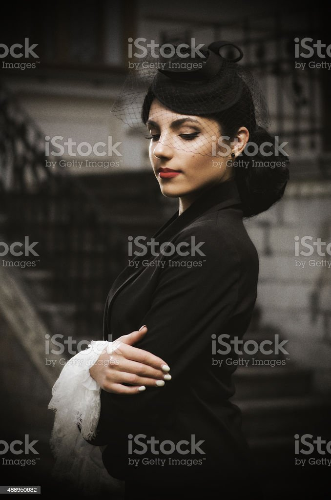 Young woman in retro styled costume (ancient ver) stock photo