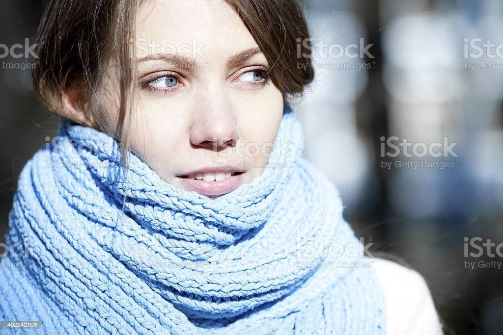Young Woman In Scarf stock photo