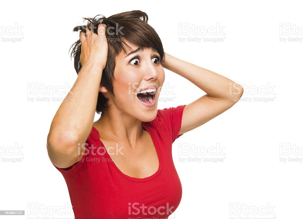 Young woman in shock royalty-free stock photo