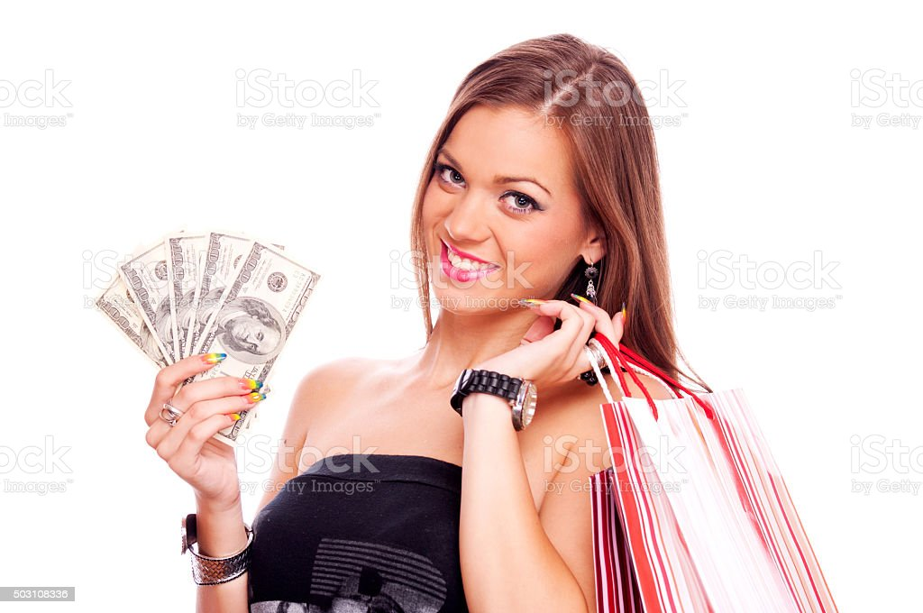 Young woman in shopping stock photo