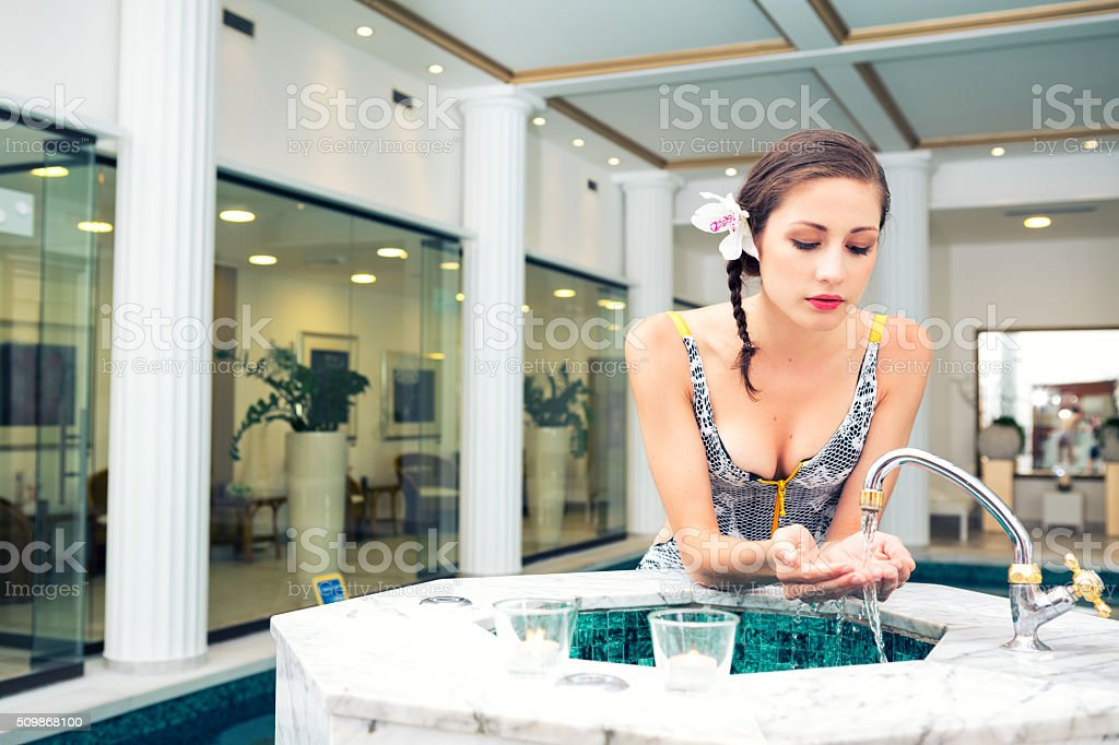 Young Woman In Spa Center stock photo